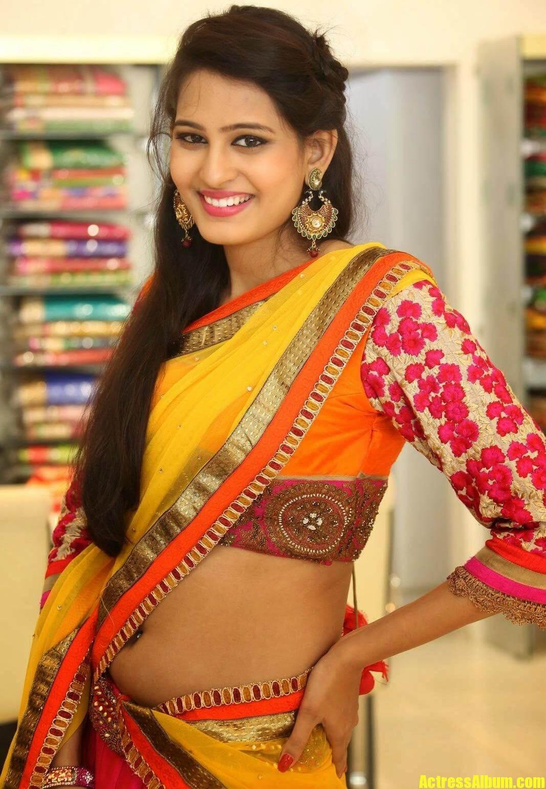Shweta Jadhav Navel Show In Yellow Half Saree - Actress Album-6547