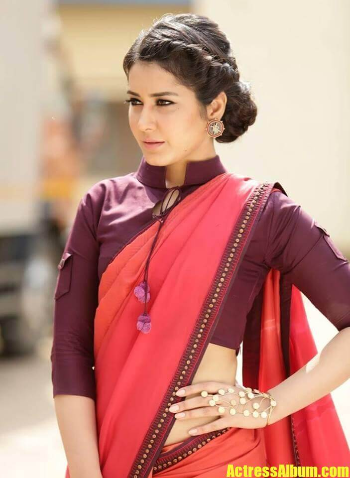 Rashi Khanna Hot Photoshoot Stills In Red Saree