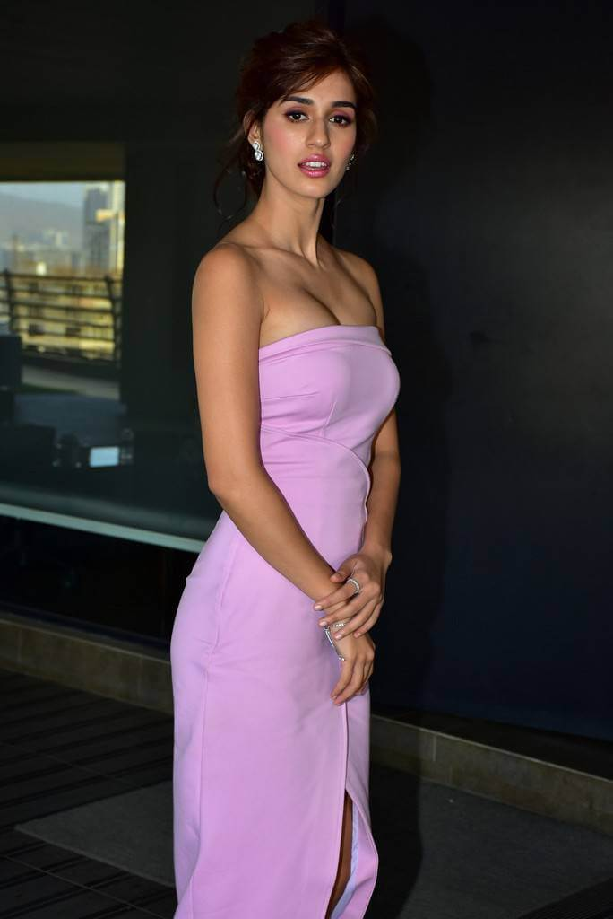 Disha Patani Hot Looking Stills In Pink Top At Baaghi 2 -1588
