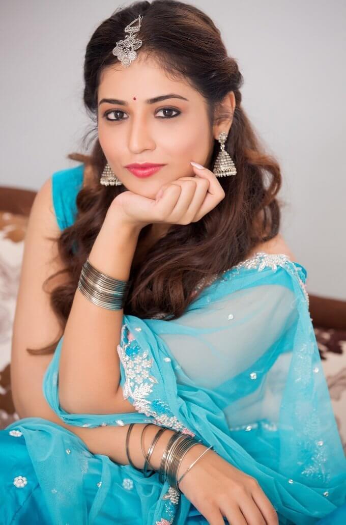 Marathi Actress Priyanka Jawalkar Photos In Blue Half -8798
