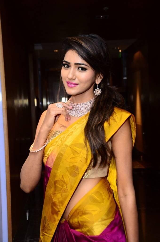 Model Shalu Chourasiya Hot Navel Stills In Yellow Saree