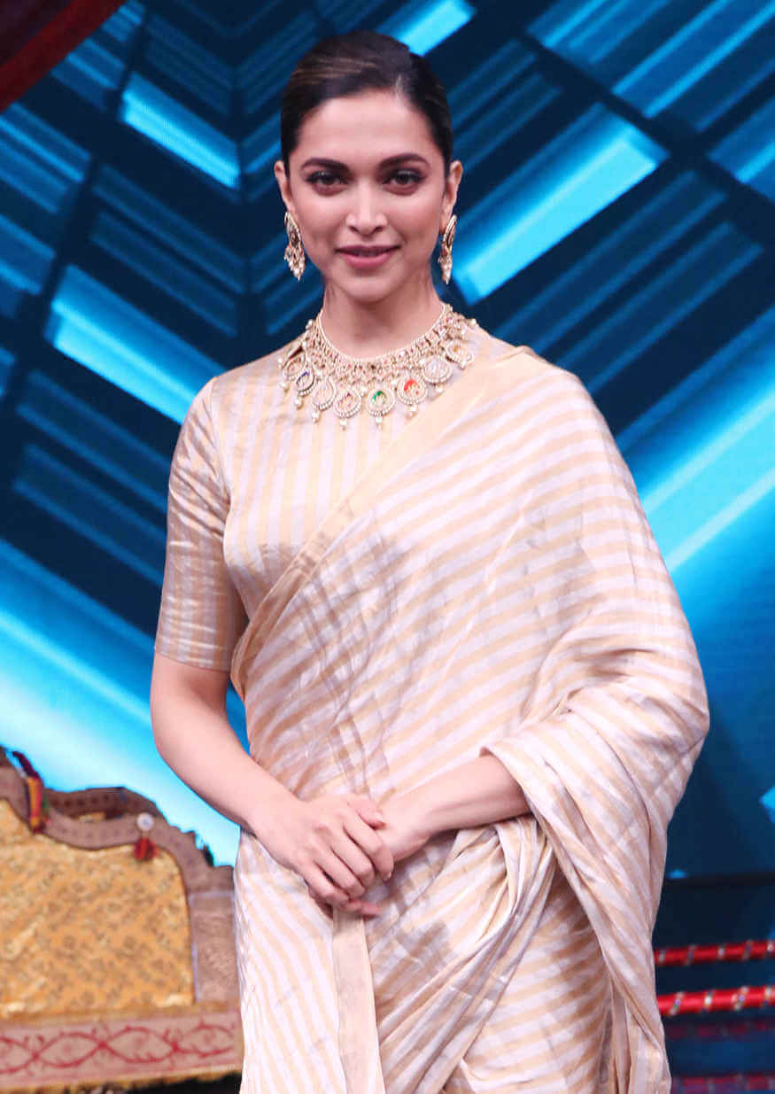 Actress Deepika Padukone In Transparent Yellow Saree At ...