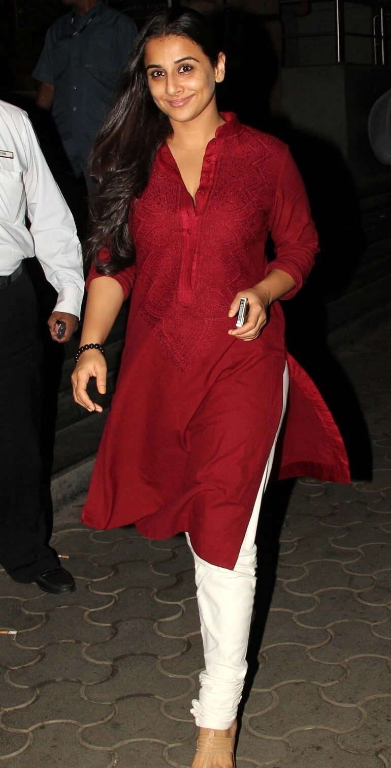 Vidya Balan In Maroon Dress