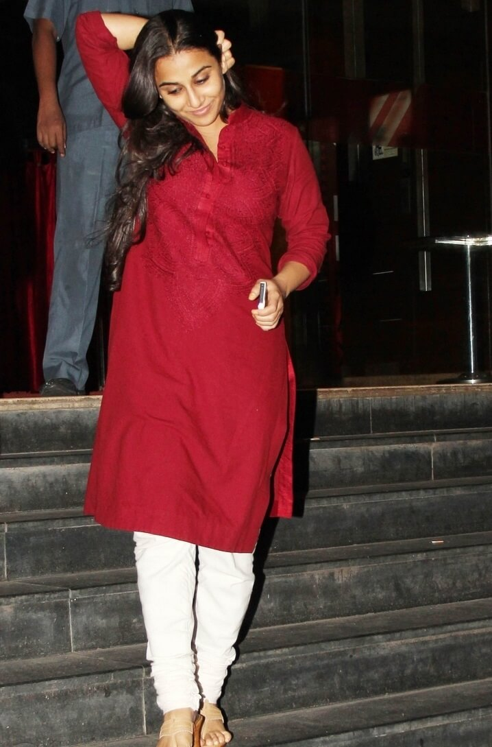 Vidya Balan Spotted In Maroon Kurtha