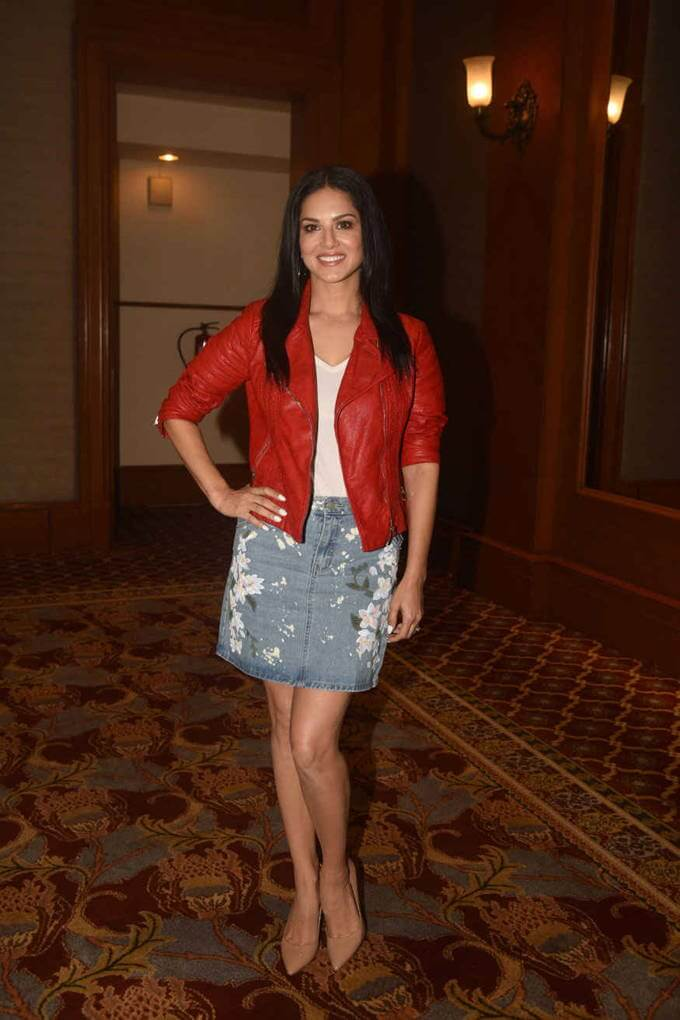 Indian Actress Sunny Leone Long Legs Stills In Red Mini