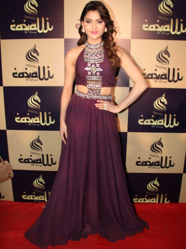 Actress Urvashi Rautela Images In Maroon Gown