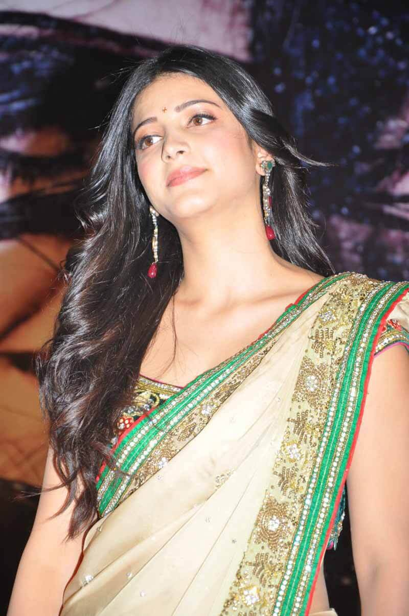 Shruti Hassan Long Hair Stills In Transparent Saree -9691