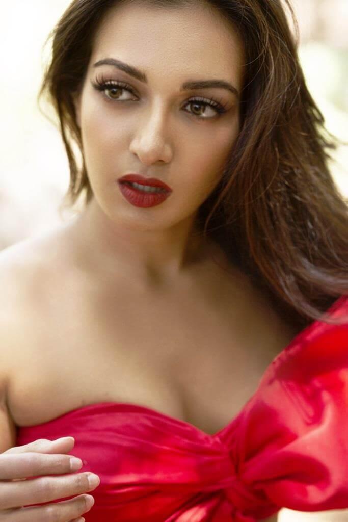 Catherine Tresa Hot Photoshoot Stills In Red Dress