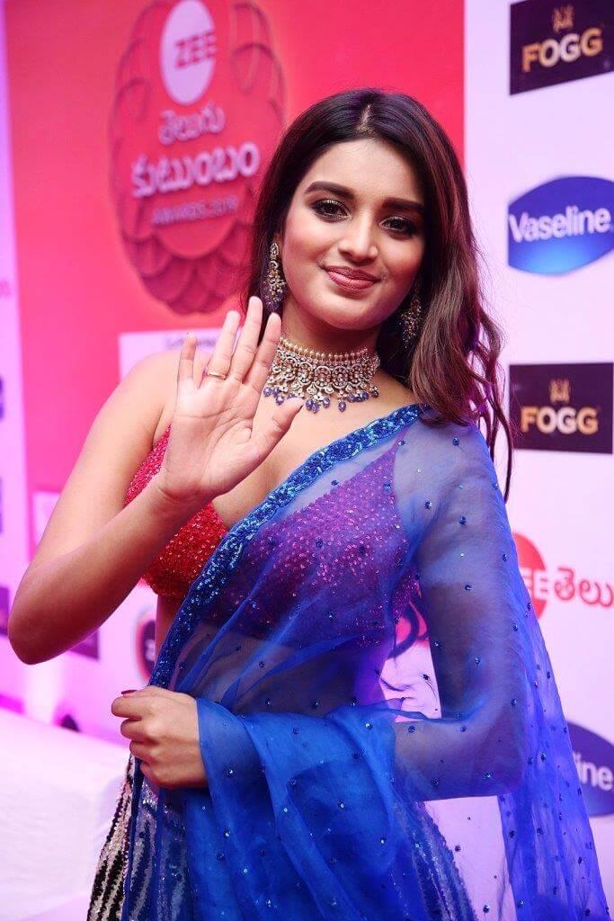 Nidhhi Agerwal Half Saree Pics At Zee Kutumbam Awards