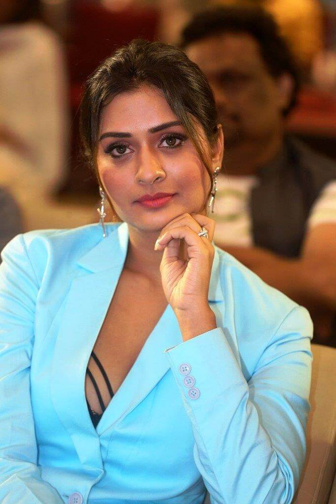 Payal Rajput Pics In Blue Dress