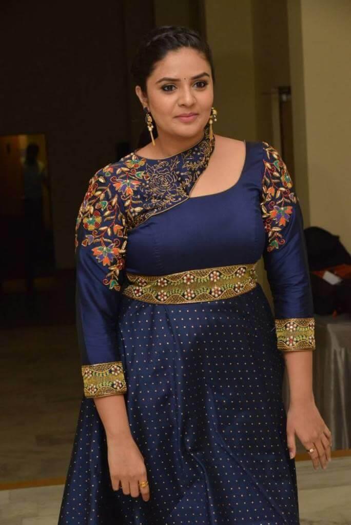 Srimukhi In Violet Dress