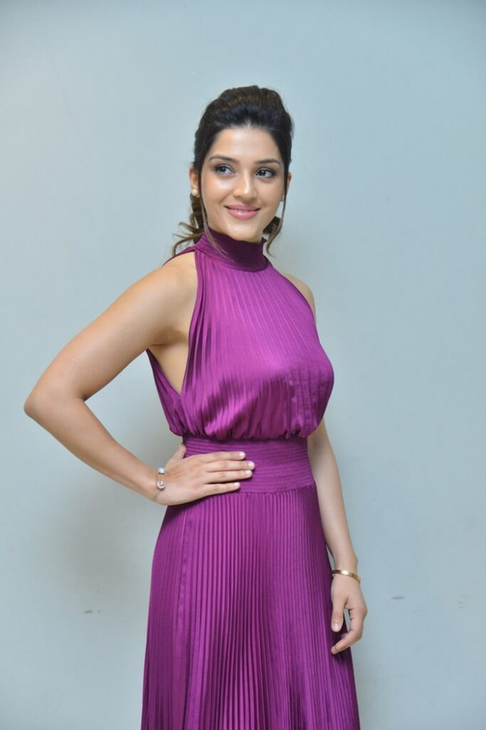 Heroine Mehreen Pirzada In Violet Dress