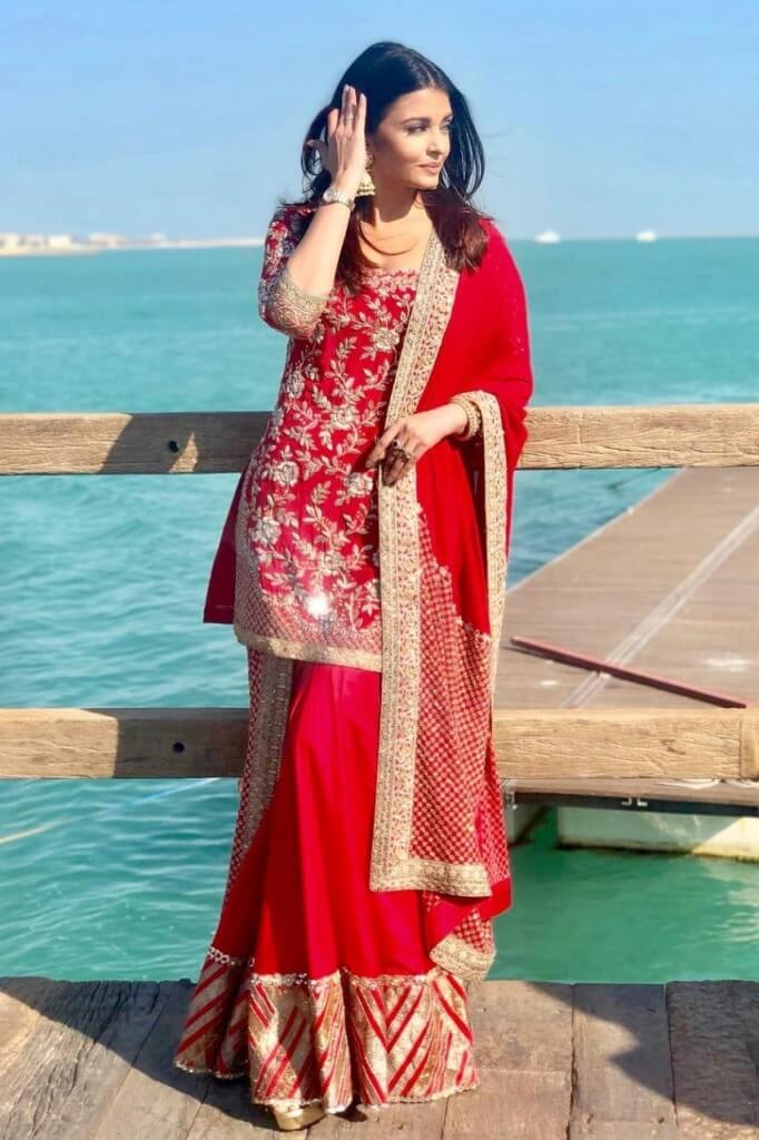 Aishwarya Rai Qatar Photoshoot Pics In Red Dress