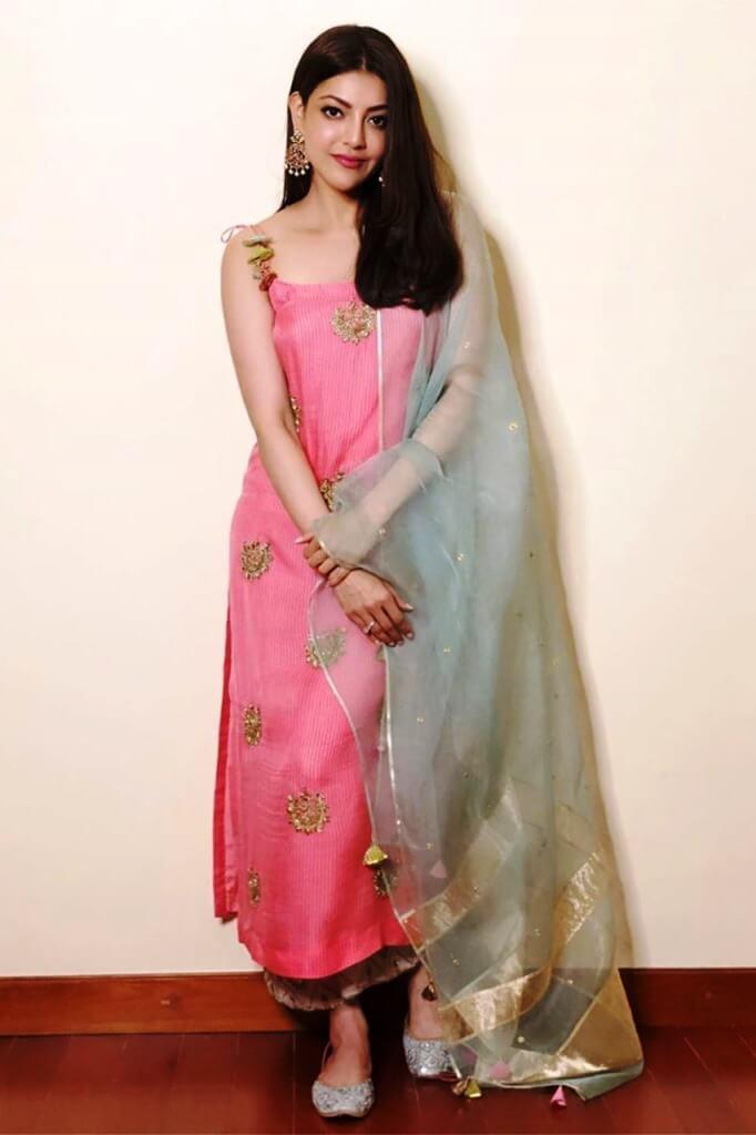 Kajal Agarwal Spotted In Gorgeous Pink Churidar