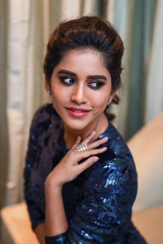 Nabha Natesh Glamorous Stills In Blue Skirt