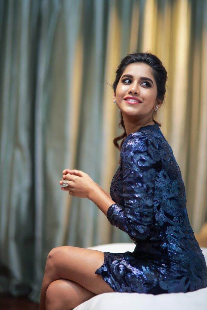 Nabha Natesh Stills In Blue Skirt