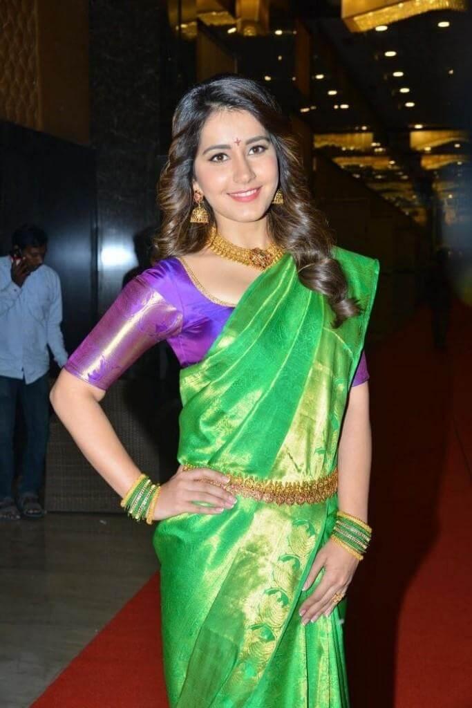 Rashi Khanna In Saree At Srinivasa Kalyanam Audio Launch