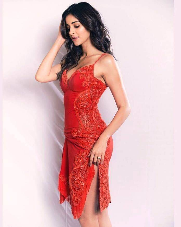 Ananya In Red Dress At The Lions Gold Awards
