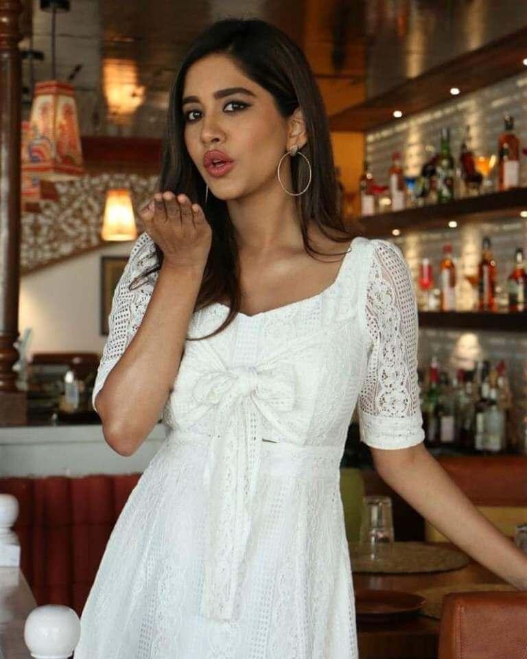 Nabha In White Dress At Disco Raja Movie Interview