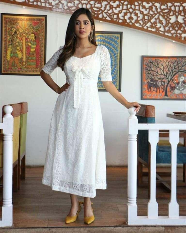Nabha Natesh In White Dress At Disco Raja Movie Interview