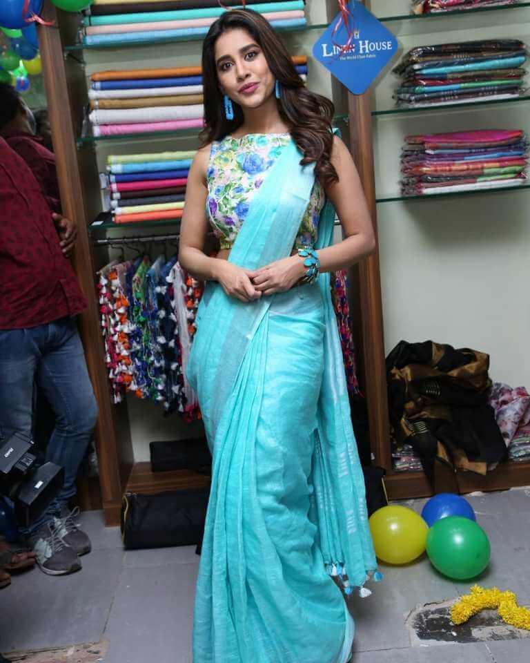 Nabha Natesh In Blue Saree
