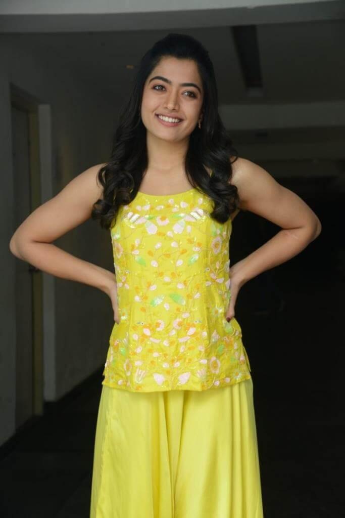 Rashmika Mandanna In Yellow Dress At Bheeshma Movie Interview