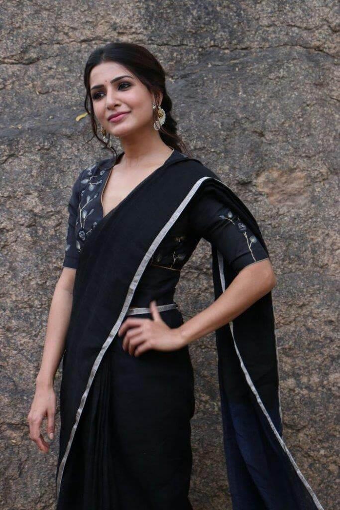 Samantha In Black Saree At Jaanu Movie Interview