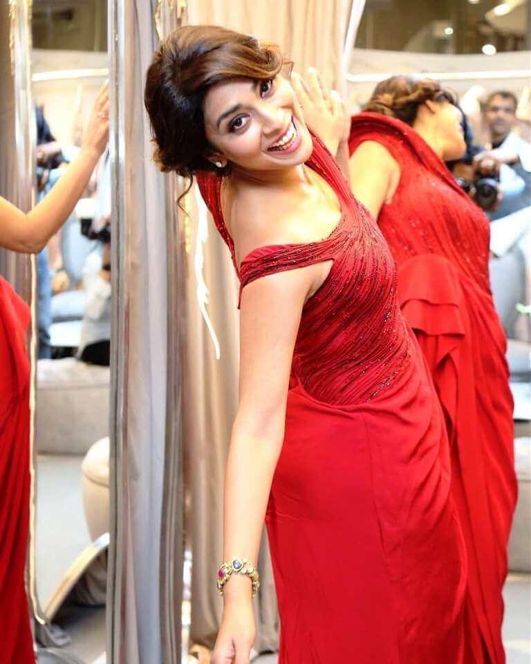Shriya Saran In Red Dress At Gaurav Gupta's Store Launch