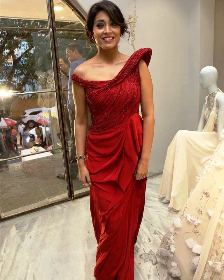 Shriya Saran In Red Dress