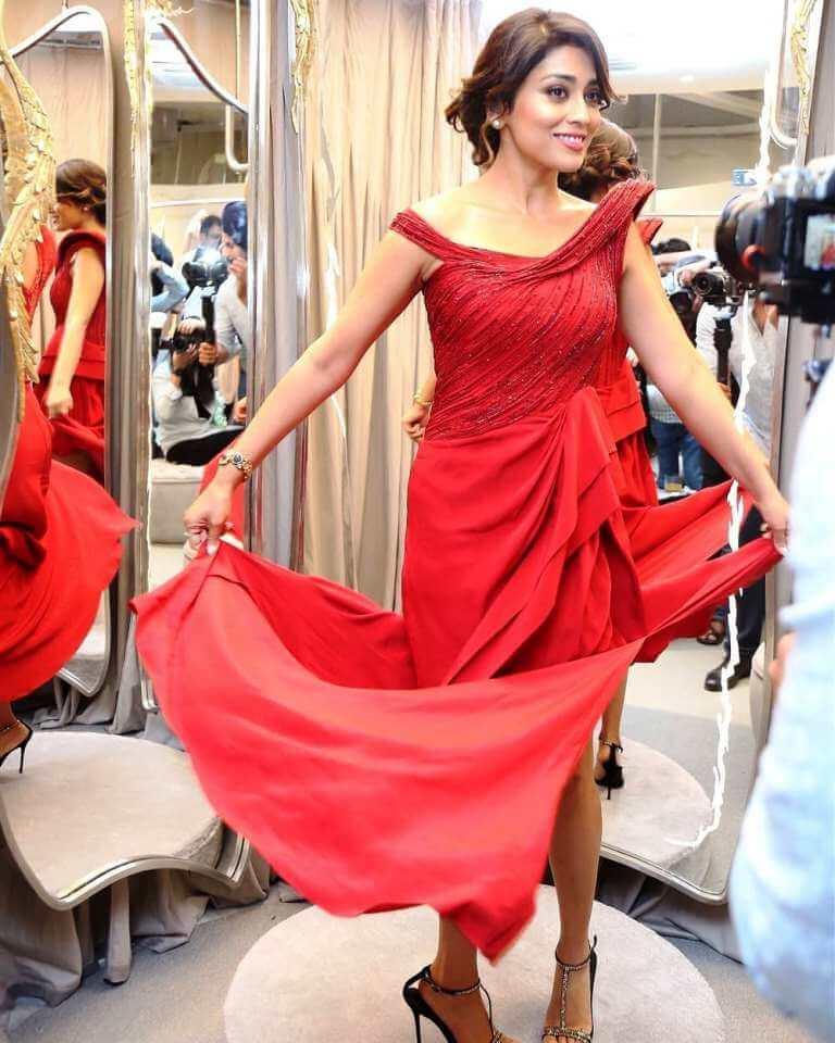 Shriya In Red Dress At Gaurav Gupta's Store Launch