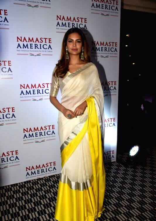 Eesha Gupta Pics In Saree At Namaste America Event