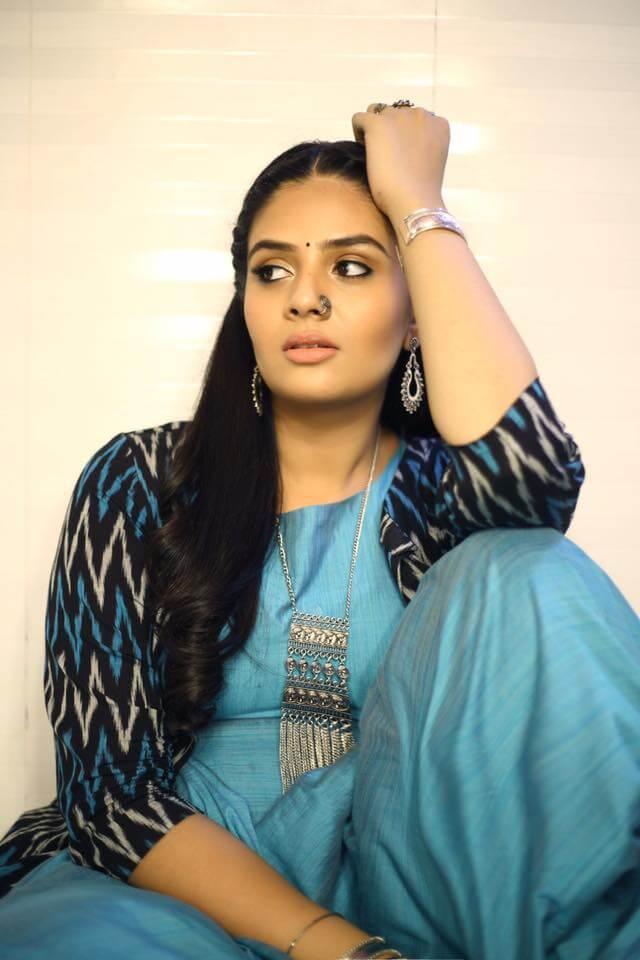TV Anchor SriMukhi Stills In Blue Dress