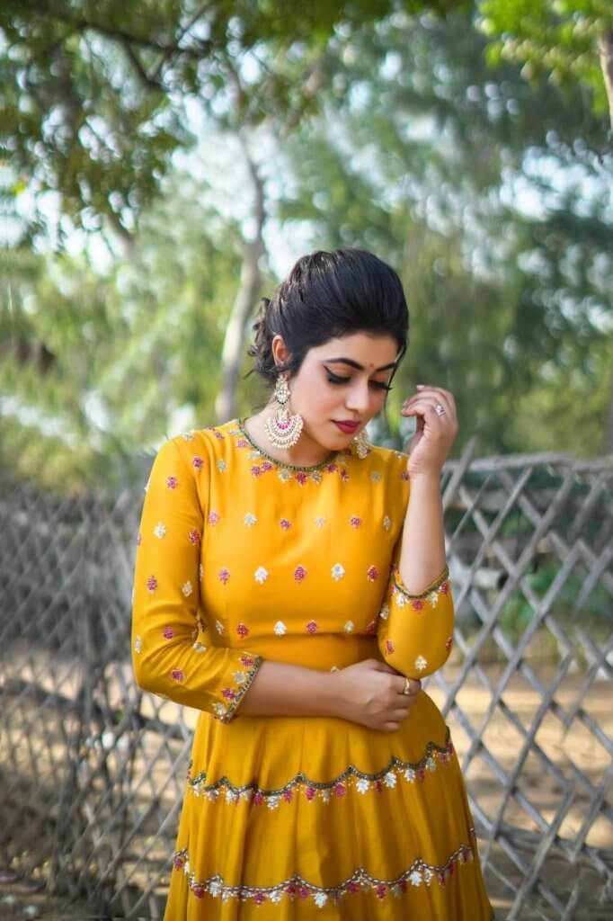 Poorna In Yellow Dress