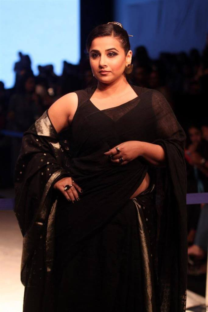 Actress Vidya Balan At Lakme Fashion Week In Black Saree