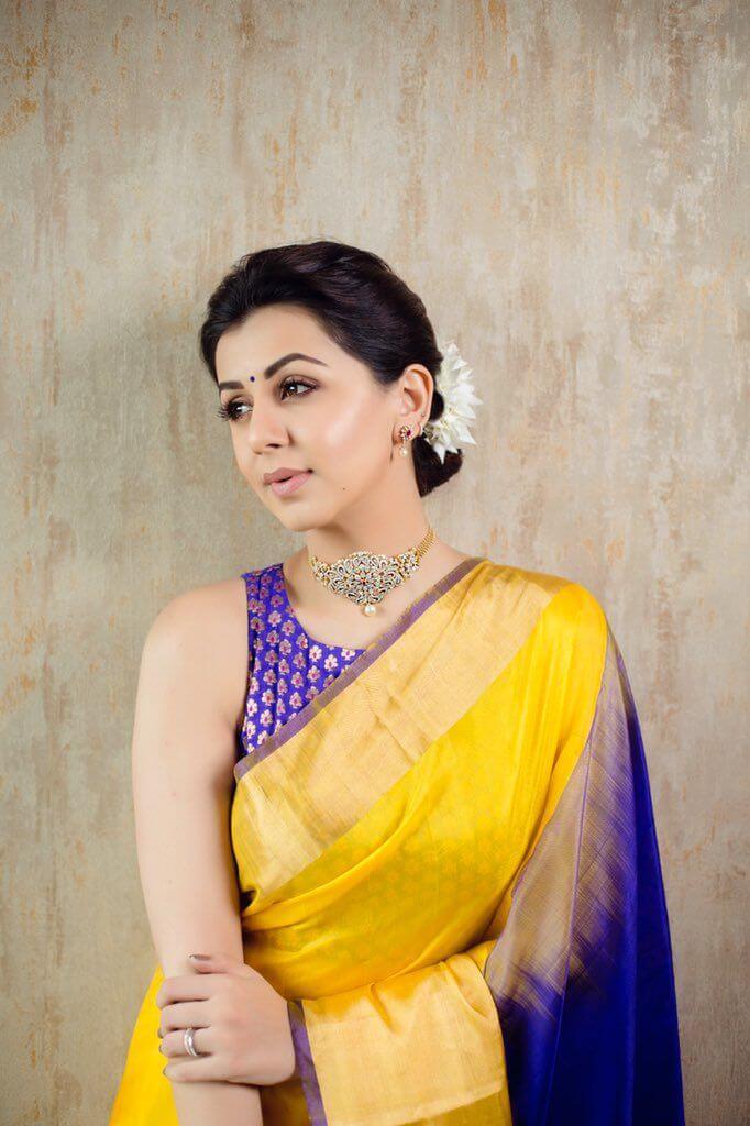 Nikki Galrani Latest Photoshoot In Yellow Saree