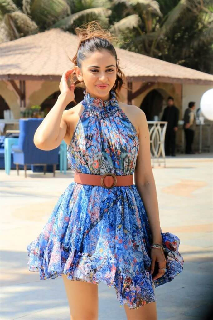 Rakul Preet Latest Pictures In Blue Skirt
