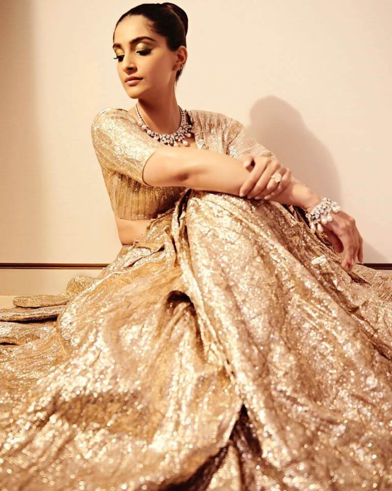 Photos Of Sonam Kapoor In Golden Lehenga