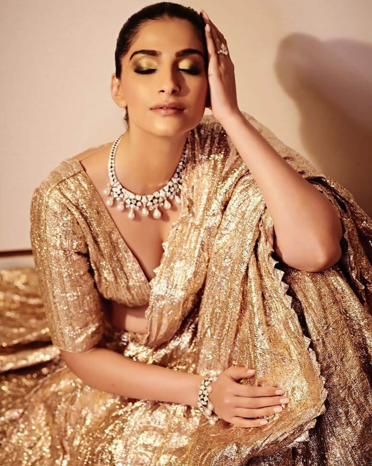 Sonam Kapoor In Golden Lehenga