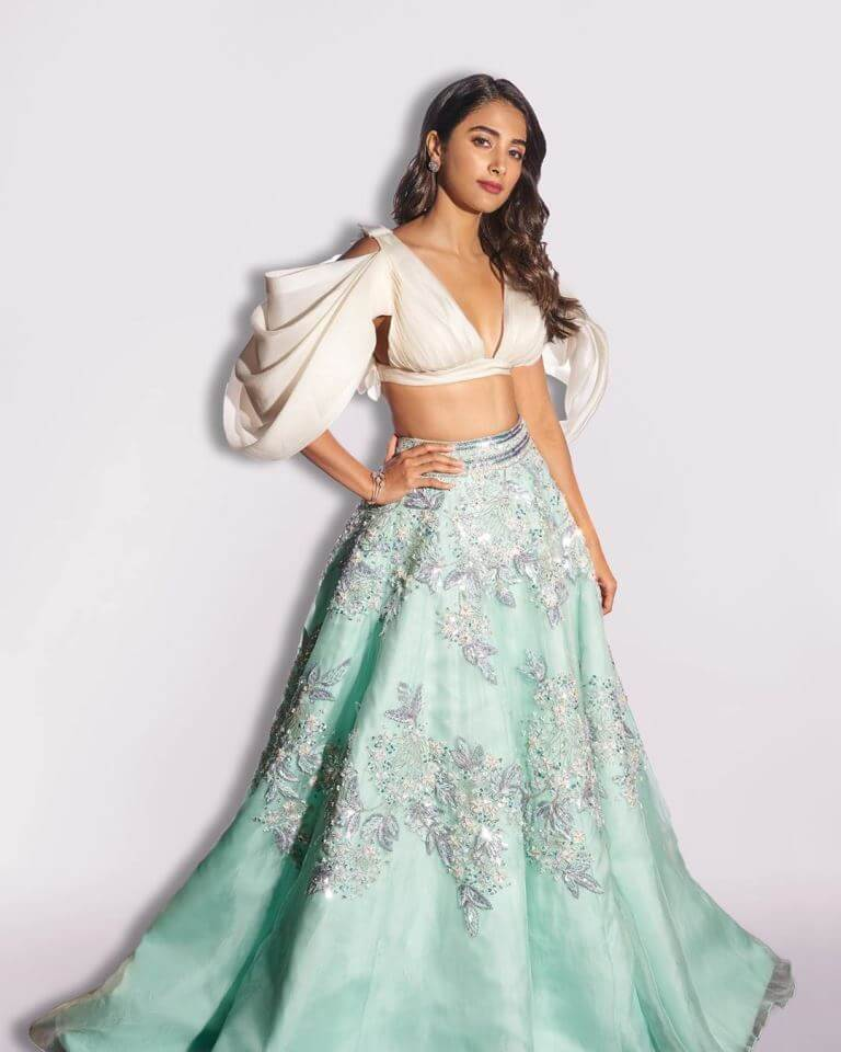 Pooja Hegde In Blue Lehenga By Designer Manish Malhotra