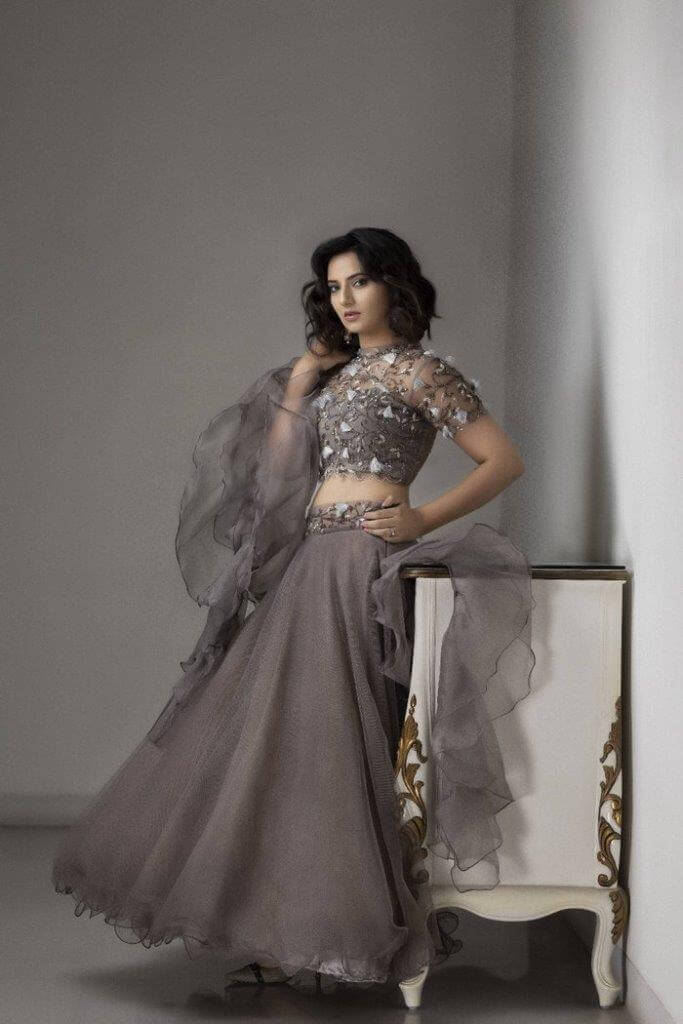 Isha Chawla Traditional Photos In Grey Lehenga