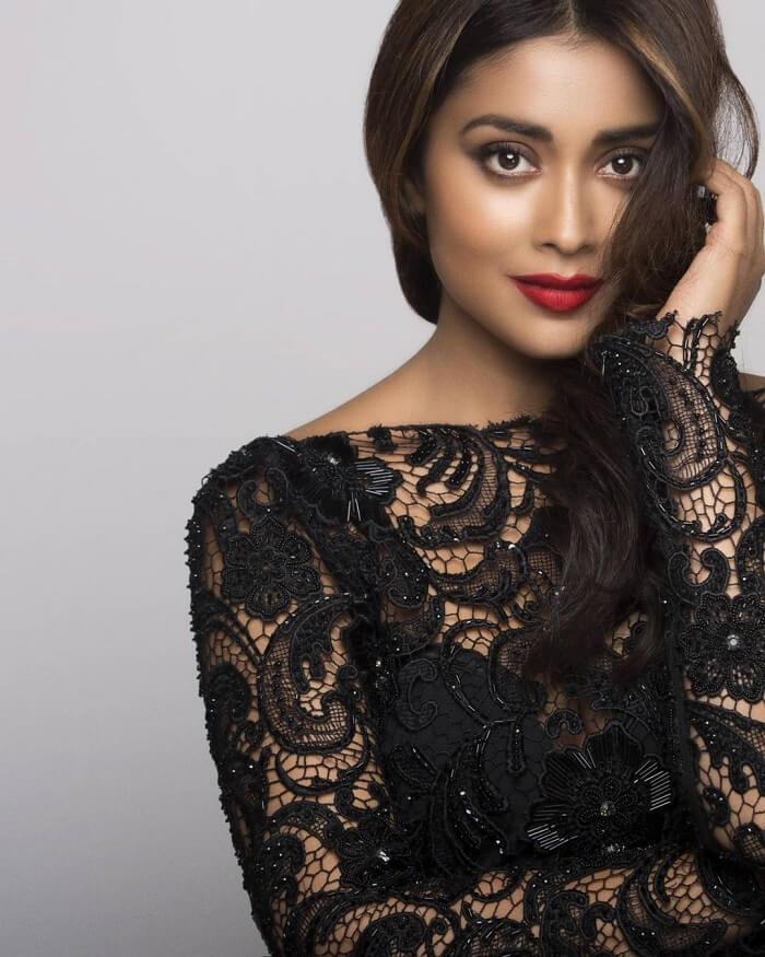 Shriya Saran In Transparent Black Dress