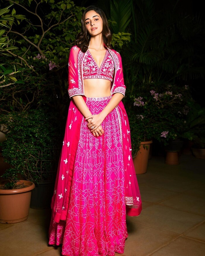 Ananya Panday Diwali Celebrations Photos In Pink Lehenga
