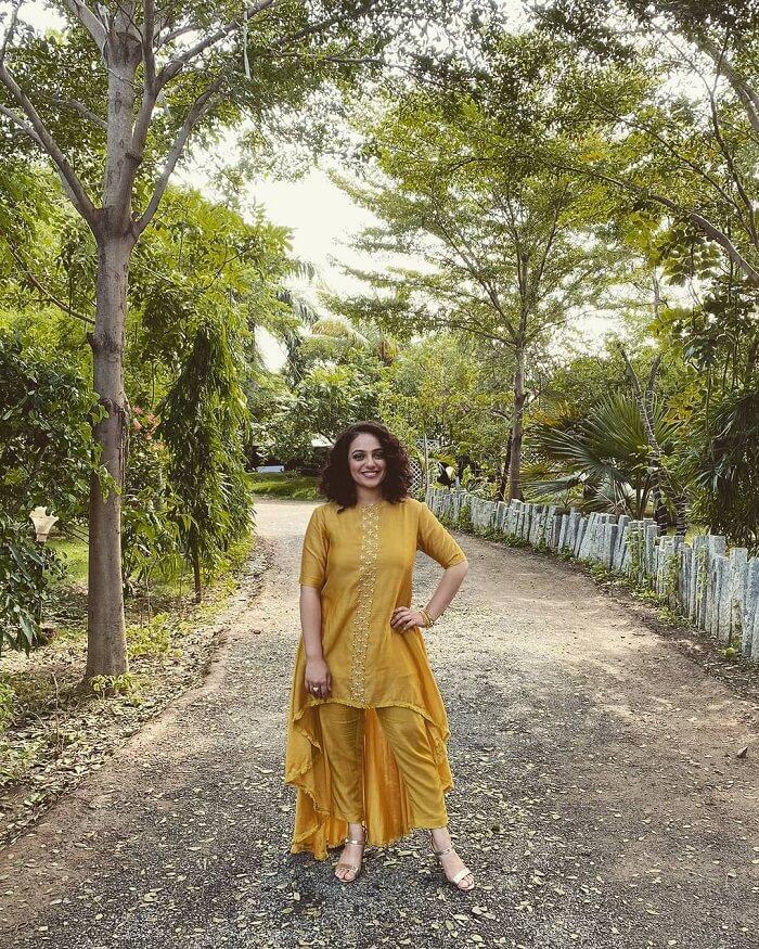 Nithya Menon In Yellow Churidar