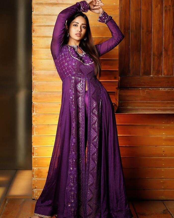Nivetha Pethuraj In Violet Dress